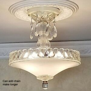 132z Vintage Antique Glass Ceiling Lamp Light Fixture Chandelier 3 Lights