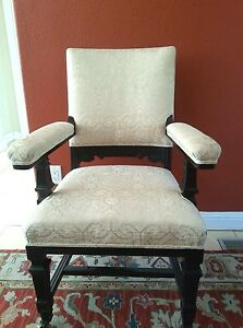 Antique Spanish Throne Arm Chair Walnut Ivory Off White