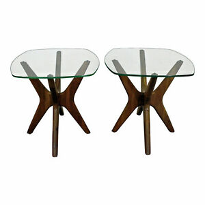 Pair Of Mid Century Danish Modern Adrian Pearsall Jacks Glass Top End Tables