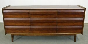 Mid Century Danish Modern Lane First Edition Long Walnut Credenza Dresser