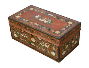 Antique Camphor Wood Chest 19th C Rare Paint Decorated
