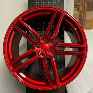 20 Hybrid Style Gloss Red Staggered Wheels Rims Fits 350z 370z 300zx