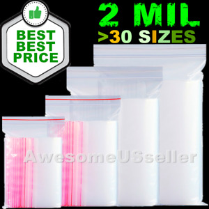 Clear Reclosable Zip And Lock Bag Plastic 2 mil Bags Poly Jewelry Zipper Baggies