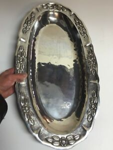 Huge 2 Ft Mexican Sterling Silver Platter Tray For Coffee Tea Set 64 Oz Maciel