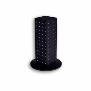 Interlocking 4 sided Pegboard Counter Display W Revolving Clear Plastic Base