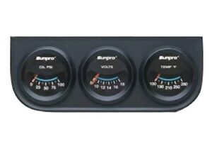 Sunpro Cp7994 Triple Gauge Kit 2 Black Face Black Bezel Black Mounting