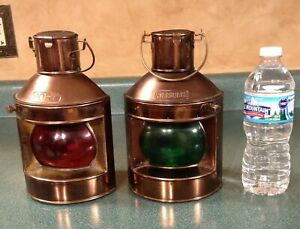 Ships Port Starboard Copper Lanterns Oil Lamps Masthead Vintage Red Green