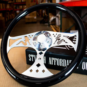 15 Chrome Ladies Steering Wheel With Black Grip And Horn Button For Trucks Cars