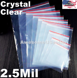 Clear Zip Lock Bags 2 5mil Plastic Top Seal Reclosable Storage Large Poly Zipper