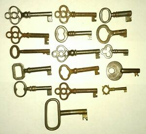 Lot B 16 Vtg Antique Hollow Barrel Skeleton Keys For Old Cabinet Locks Freeshi
