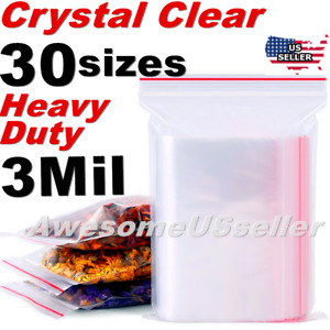 Clear Thick 3 mil Baggies Bags Heavy duty Reclosable Zip Top Plastic Zipper Poly