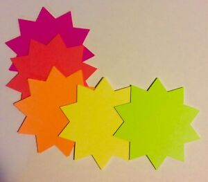 4 x4 Round 500pk Fluorescent Starburst Price Neon Retail Tags Cards Signs New