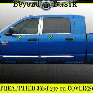 For 2006 2009 Dodge Ram 4dr Mega Cab 4pc Stainless Steel Window Sill Covers