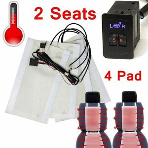 4 Seats 8 Pads Universal 1 Dial 5 Level Switch Seat Heater Kit Heated Seat Kit