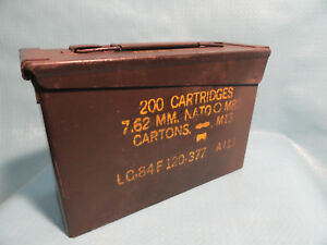 Military Ammo Can 200 Cartridge 7.62 MM For MG M60 - M73 Metal Box Vintage Empty