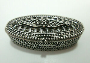 Vintage 925 Sterling Silver Small Oval Trinket Pill Box