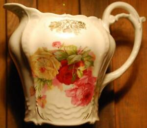 Antique Victorian Pitcher Jug Porcelain 1880s Pink Red Roses Embossed Gold
