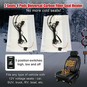 4 Pads Carbon Fiber Universal Seat Heater Warmer 2 Seats 3 level Switch Fits 12v
