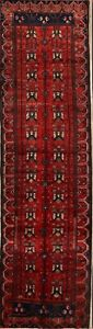 Hand Knotted Palace Size Geometric Wool Persian Hamedan Oriental Runner Rug 4x13