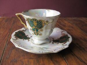 Royal Sealy China Teacup Saucer Green Gold White Iridescent