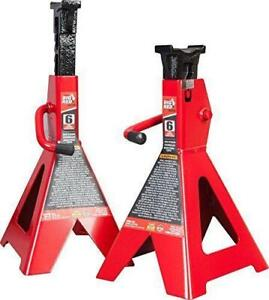 Torin Big Red 6 Ton Capacity Heavy Duty Locking Steel Double Jack Stands 1 Pair