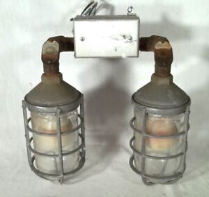 Vintage Early 20th Century Industrial Explosion Proof Double Wall Light Sconce