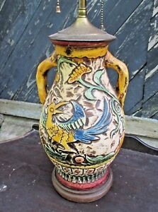 Vintage Early 20th Century Colorful Majolica Double Socket Lamp