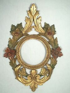 Vintage Early 20th Century Gilt Carved And Painted Wooden Italian Mirror