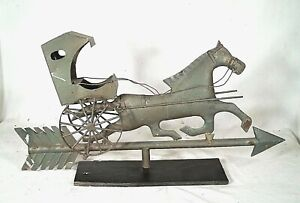 Vintage Mid Century Painted Tin Horse And Buggy Arrow Weathervane