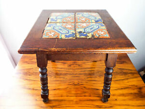 Antique Mission Style Tiled End Table California Tile Oak Side Tile 1910s 1920s