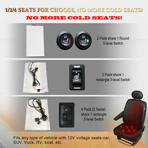 Universal Heated Pad Carbon Fiber Seat Heater 2 Dial 5 Level Switch Kit
