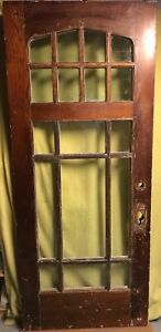 Antique Arts Crafts Wood Exterior French Entry Door W 17 Pane Glass 34x81