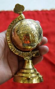Rotating World Globe Table Decor Nautical Mini Globe Brass Paper Weight Dec Bm15