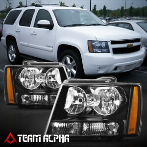 Fits 2007 2014 Chevy Avalanche Suburban Tahoe Black Clear Amber Corner Headlight
