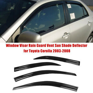 Window Visor Rain Guard Vent Sun Shade Deflector For Toyota Corolla 2003 2008 Us