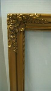 Vintage Ornate Gilt Gold Wood Picture Frame With Glass 24 X 19
