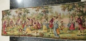 Antique 19c Aubusson French Tapestry Beautiful Color Real View 60 X20 Cm152x52