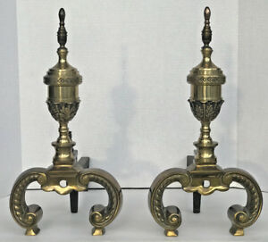 Pair Of Vintage Heavy Brass Cast Iron Fireplace Andirons 18 5 Tall