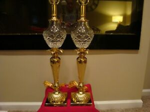 Elegant Pair Of Brass And Crystal Table Lamps Must See Stunning