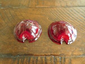 Two Vintage Bullet Marker Fender Light Lenses Knucklehead Harley Chevy Flathead