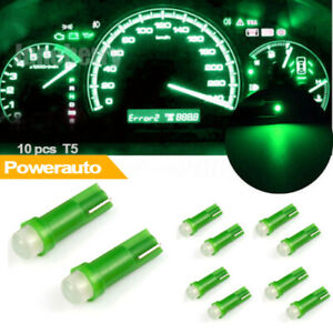10x T5 Led Smd Car Interior Gauge Cluster Instrument Dashboard Lamp Green Bulb