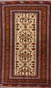 Geometric Tribal Gold Rust Balouch Afghan Hand Knotted Oriental 4 X6 Wool Rug