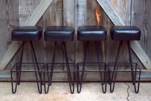 Lot 4 Vintage Wrought Iron Frederick Weinberg Bar Counter Stools Hairpin Legs
