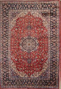 Floral Red Najafabad Persian Oriental Hand Knotted 10x14 Wool Area Rug