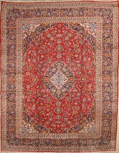 Traditional Floral Kaashan Persian Oriental Hand Knotted 10x13 Wool Area Rug