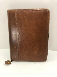 Day Timer 7 Rings Classic Planner Cowhide Leather Binder Agenda Organizer Zipper