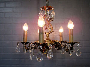 Vintage Antique Italian Design Spanish Brass Five Light Chandelier 30 5 L