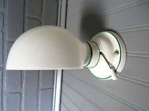 Vintage Antique Art Deco Green White Porcelain Wall Sconce Vanity Light