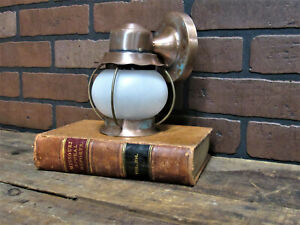 Vintage Antique Copper Porch Light Sconce Brass Accents 7 1 8 Tall Rewired