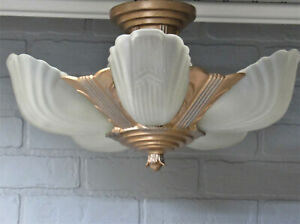 Vintage Antique Art Deco Slip Shade Chandelier Cast Iron Semi Flush Rewired 10